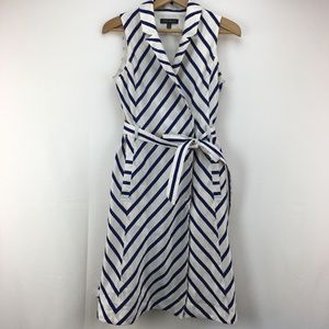Banana Republic Blue Stripe Trench Wrap Dress